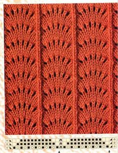 Aprender puntadas de tejido de dos Gujas y de crochet. Beautiful variant of Feather & Fan There are several others on the page with charts. Many other charted knitting stitches on this Russian site. Lace Knitting Stitches, Easy Knitting Patterns, Crochet Stitches Patterns, Knitting Charts, Knitting Designs, Knitting Projects, Baby Knitting, Stitch Patterns, Cross Stitch Pattern Maker