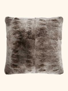 Fur And Cashmere Cushion in Heather Stone Brown + Sable Tipped Fur - N.PEAL Luxury Cashmere