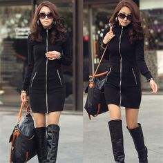 New Sexy Casual Women Winter Black Slim Zipper Up Cardigan Korean long-sleeved package hip Long Sleeve Bodycon Solid Mini Dress