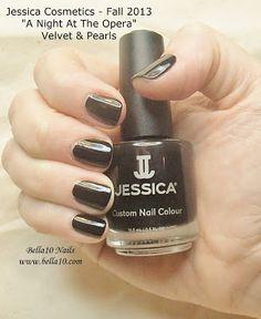 "Bella10 Nails - http://bella10.blogspot.com/ Jessica Cosmetics - Fall 2013 ""A Night at the Opera"" Collection - Velvet & Pearls"