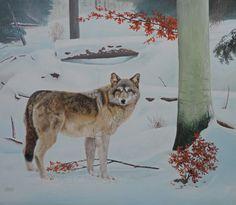 """Wolf """"Der Wanderer"""" Ölbild 60x50cm"""