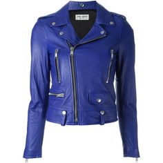 Saint Laurent classic motorcycle jacket ($4,750) ❤ liked on Polyvore featuring outerwear, jackets, blue, leather, coats & jackets, blue jackets, blue moto jacket, leather jackets, genuine leather biker jacket and blue biker jacket