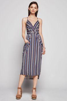 Adrianna Papell Plus Size Beta Stripe Printed Geor te Blouson