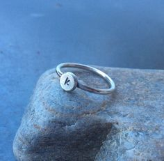 Sterling silver ring,  Personalized recycled sterling silver initial ring