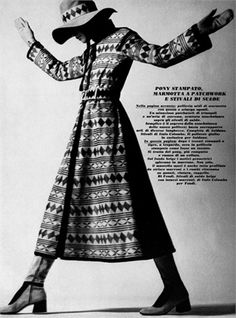 Fendi fashion appeared in Vogue magazine in 1970. I chose the picture because I liked her style: a wide-brimmed hat, long coat and boots!