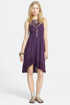 Free People NWT Star Lace Empire Waist Dress XS $118 Rich Purple NWT #FreePeople