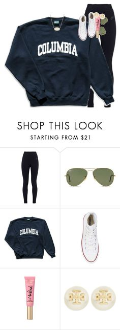 """""""went a bed at three and woke up at one"""" by ellaswiftie13 ❤ liked on Polyvore featuring NIKE, Ray-Ban, Columbia, Converse, Tory Burch and Kendra Scott"""