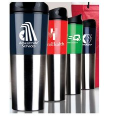 """20oz Tall Travis Travel Tumbler  Large capacity double wall insulation travel tumbler. Stainless steel and bold color acrylic outer wall. Plastic liner. Plastic snap-on lid with silicone gasket and rotation lock prevents spills. Non-slip bottom. Not microwave or dishwasher safe.  8 3/4"""" H x 3 1/4"""" Diameter [ NMPRD-HWXDM ]   100pcs: $7.99 1 color 1 location"""