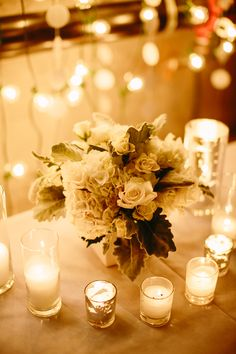 Photo: Karen Obrist Photography - budget friendly wedding centerpiece idea