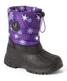 Love this Purple Snowflake Snow Boot - Kids on #zulily! #zulilyfinds