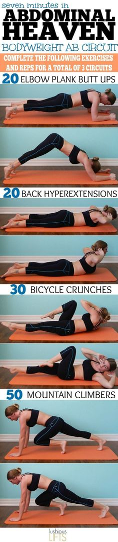 Seven minutes in Abdominal Heaven {Bodyweight Ab Circuit Workout} https://www.musclesaurus.com/flat-stomach-exercises/
