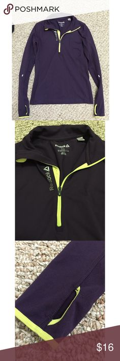 Reebok Zip up Dark purple in color- perfect for running this fall- has hole for thumbs (shown in picture)- in perfect condition Reebok Tops Sweatshirts & Hoodies