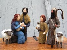 So beautiful!! Needle Felted Nativity Set Mary Joseph Jesus by TheMermaidsMuse, $85.00