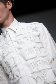 Textiles for Fashion - white shirt with laser cut patterns; close up fashion detail // Matthew Miller Spring 2013
