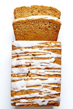 This Carrot Bread with Cream Cheese Glaze is super easy to make and delicious to eat. #BiteMeMore #carrot #bread