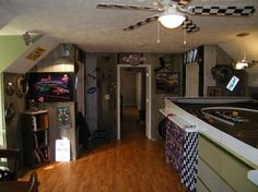 This hobby room is home to the owner's favorite hobby: slot car racing.