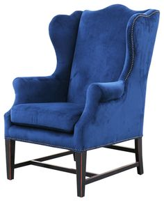 Sophisticated and stately, this classic, tall wing chair offers oversized comfort for reading alone or with your favorite companion. Rich and regal, the. Velvet Wingback Chair, Blue Armchair, Velvet Furniture, Blue Furniture, Vintage Furniture, Modern Armchair, Wingback Chairs, Hickory Furniture, Furniture Chairs