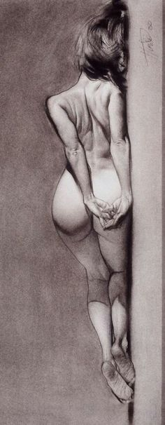 Contemporary figurative artist Steve Huston, discreet nude woman posterior back reclining charcoal figure drawing rotated, 2000. Good model pose.