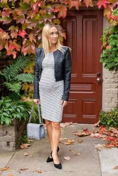 Max & Co White striped dress, BCBG Maxazria black cropped blazer with a puckered jacquard, Vince pumps, Alex & Ani Bracelets, and Chanel Purse Styled For Paradise