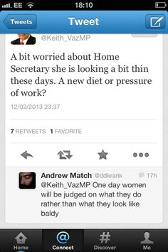 Home secretary Theresa May was named as Britain's second most powerful woman yesterday and later in the day an opposition Labour MP tweeted this.. Tedious. I'm with Andrew on this!