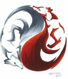 Yin Yang Kitsune by RHPotter on DeviantArt Wolf Tattoos, Yin Yang Tattoos, Body Art Tattoos, Tattoo Art, Cute Drawings, Animal Drawings, Drawing Animals, Fuchs Illustration, Fuchs Tattoo