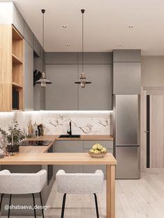 Small Modern Kitchens, Modern Kitchen Interiors, Luxury Kitchen Design, Kitchen Room Design, Home Room Design, Kitchen Cabinet Design, Home Decor Kitchen, Interior Design Kitchen, Home Kitchens