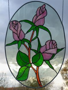 Stained Glass Window Image Pink Branch with Pink Roses | eBay