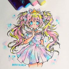 Stunning manga drawing by @kiricheart using their Chameleon Pens! #chameleonpens #pen #marker #alcoholmarkers #anime #manga #colour #color #colouring #coloring #drawing #illustration