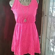 Dress NWOT Cherokee Beautiful Neon Pink Vintage Crocheted summer dress. Waist has elastic for extra stretch. Cherokee Dresses High Low