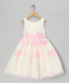 Take a look at this Ivory & Pink Soutache Dress - Toddler & Girls by Jayne Copeland on #zulily today!