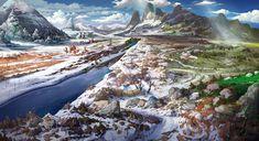Snow Covered Plains by Hee Uk Jung Fantasy Art Landscapes, Landscape Concept, New Fantasy, Environment Concept, Fantasy Illustration, Environmental Art, Concept Art, Snow, Cover