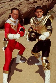 Jason David Frank & Austin St John on the set of Power Rangers Zeo