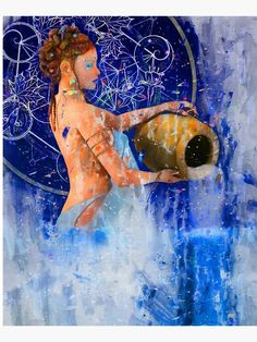 """""""Aquarius Zodiac Astrology Abstract Painting"""" Mounted Print by MysticSoulwork 