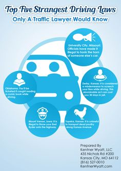 Infographic - Strange Traffic Laws From Kansas City Traffic Ticket Lawyers - http://kentnerwyatt.com/infographic-strange-traffic-laws-from-kansas-city-traffic-ticket-lawyers/