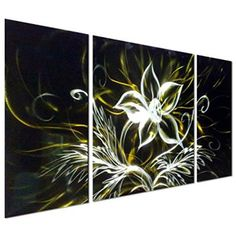 Pure Art Stunning Night Flower Abstract Aluminum Metal Wall Art, Set of 3 yellow black and silver Panels - Enhancing Decorative Sculpture for your home / business - 50    Floral aluminum metal wall art also known as floral metal wall art is a beautiful way to decorate your home.  You can get all kinds of unique, pretty and cool home decorating ideas by combining metal, glass, leather and cloth to really make your home multi dimensional and full of life.