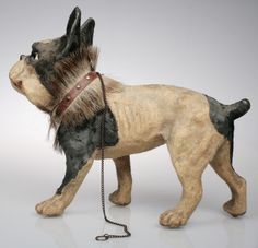 Antique French Papier Mache Bulldog Pull Toy | From a unique collection of antique and modern toys at http://www.1stdibs.com/furniture/more-furniture-collectibles/toys/