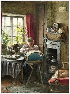 Charles Spencelayh (British, 1865-1958) «The lace maker»
