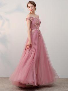 A-Line prom dresses, prom dresses long, pink prom dresses, modest prom Long Prom Dresses Uk, Long Formal Gowns, Tulle Prom Dress, Grad Dresses, Evening Dresses, Wedding Dresses, Formal Dresses, Dark Rose, Applique Dress
