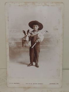 Antique-Cabinet-Card-Photo-Boy-in-Overalls-Hat-Rake-Puppy-in-Basket-Sharon-Pa