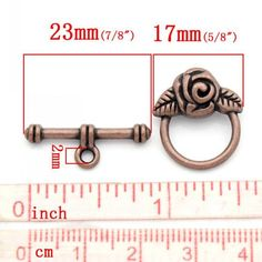 Copper floral rose round toggle clasp. 1-5 pieces. Jewelry findings, beads, FOE, ribbon, elastic, shabby trim & more available!