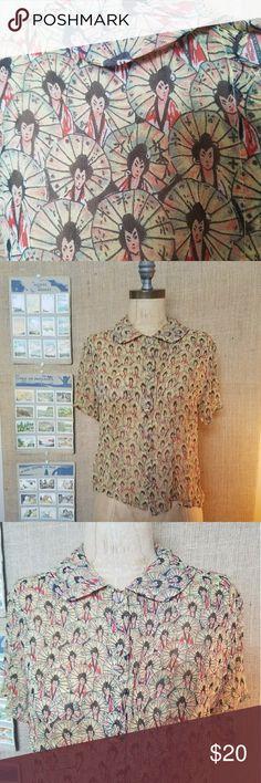 "Amazing geisha print silk blouse Vintage silk blouse with allover geisha and parasol print. Truly unique. EUC. Bust 17'"" waist 16"" length 19"" harari Tops Blouses"