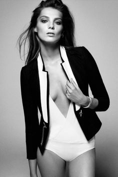| blazer + one piece suit | #DariaWerbowy #white