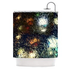 """Robin Dickinson """"Blinded"""" Water Black Shower Curtain"""