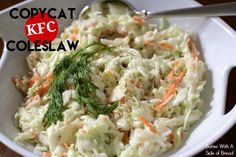 Copycat KFC Coleslaw – Butter_with_a_Side_of_Bread Imitator KFC Coleslaw – Butter_with_your_bread side Copycat Kfc Coleslaw, Coleslaw Recipe Easy, Homemade Coleslaw, Coleslaw Mix, Coleslaw Dressing, Slaw Recipes, Copycat Recipes, Bbq Chicken Sandwich, Slow Cooker Bbq