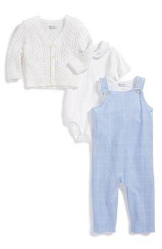 Ralph Lauren Pima Cotton Cardigan, Bodysuit & Overalls (Baby Boys) available at #Nordstrom