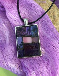 Mosaic Necklace Pendant/Purple Rectangular Stained Glass