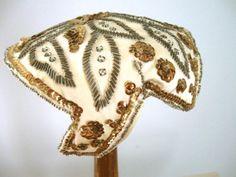 Vintage 50s SCHIAPARELLI Cocktail Hat Ivory Satin Rhinestones Beads Sequins
