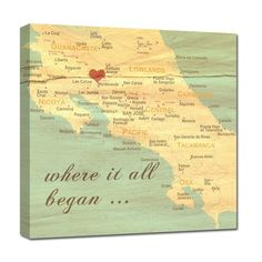 Anniversary Wedding VALENTINE'S DAY GIFTS for him or her...the WHERE IT ALL BEGAN MAP CANVAS