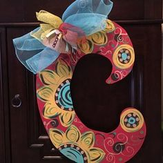 Items similar to Cute Fall Initial Letter Door Hanger on Etsy Painting Wooden Letters, Painted Letters, Wood Letters, Hand Painted, Letter Door Hangers, Initial Door Hanger, Wood Initials, Burlap Garden Flags, Fall Canvas