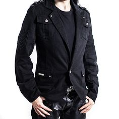 Blazer jas met studs en epauletten zwart - Metal Rock